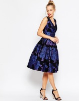 ASOS Blue Rose Jacquard Midi Prom Dress, from asos.com