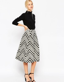 ASOS Midi Prom Skirt in Chevron with Zip Detail, from asos.com