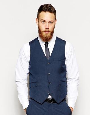 ASOS Slim Fit Waistcoat In Blue Pindot, from asos.com