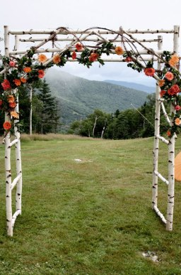 Birch wooden wedding arch - www.etsy.com/shop/blueskiesforever