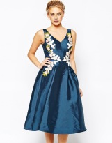 Chi Chi London Full prom Midi Dress with Embrodery at Waist, from asos.com
