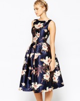 Chi Chi London Full Prom Skater Dress In Floral Print, from asos.com