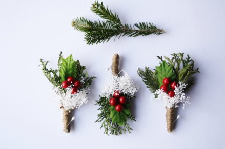 Christmas wedding boutonniere - www.etsy.com/shop/WildRoseAndSparrow