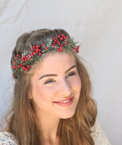 Christmas wedding floral crown - www.etsy.com/shop/BeSomethingNew