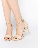 Dune Missie Nude Leather Two Part Studded Heeled Sandals, from asos.com