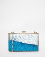 Skinnydip Liquid Glitter Clutch in Blue, from asos.com
