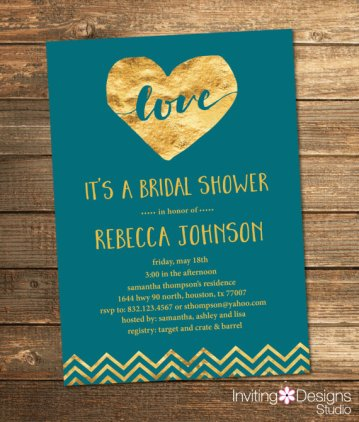 Teal and gold bridal shower invitation - www.etsy.com/shop/InvitingDesignStudio