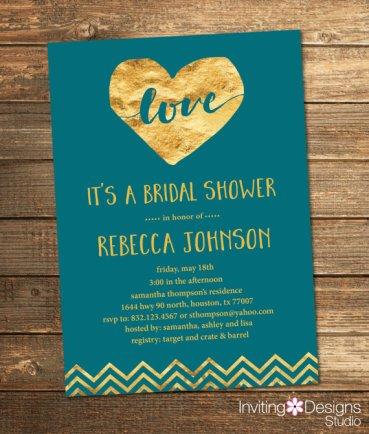 Teal and gold bridal shower invitation - www.etsy.com/shop/InvitingDesignStudio