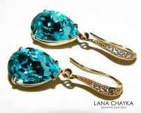 Teal and gold earrings - www.etsy.com/shop/LanaChayka