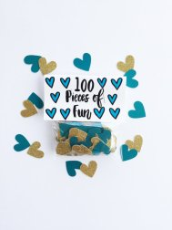 Teal and gold heart confetti - www.etsy.com/shop/sewlovetheday