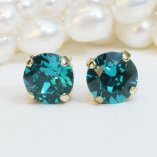 Teal and gold stud earrings - www.etsy.com/shop/TIMATIBO