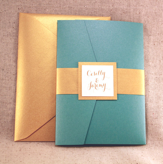 Teal And Gold Wedding Invitation Etsy Shop
