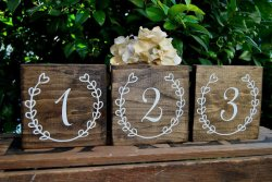 Wedding table numbers - www.etsy.com/shop/LizzieandCoDesigns
