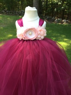 Burgundy and pink flower girl dress - www.etsy.com/shop/AnaBeanDesigns