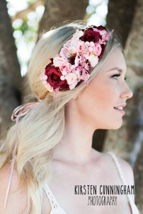 Burgundy and pink flower headpiece - www.etsy.com/shop/RnLOffandRacing