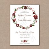 Burgundy and pink wedding invitation - www.etsy.com/shop/KGPaperDesigns