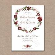 Burgundy and pink wedding invitation - www.etsy.com/shop/KGPaperDesigns