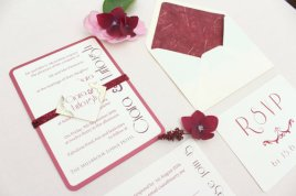 Burgundy and pink wedding invitation - www.etsy.com/shop/LoveStoreyWeddings
