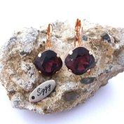 Burgundy Swarovski earrings - www.etsy.com/shop/SiggyJewelry