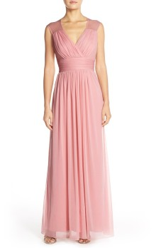 Light pink Alfred Sung chiffon bridesmaid dress - nordstrom.com