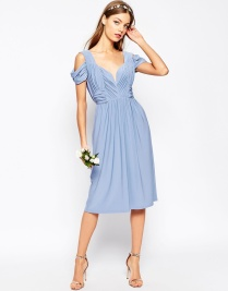 Asos blue drape bridesmaid dress - asos.com