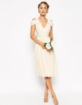 Asos white drape cold shoulder bridesmaid dress - asos.com