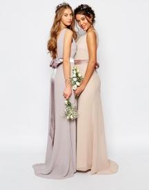 TFNC sateen bow maxi bridesmaid dress - asos.com