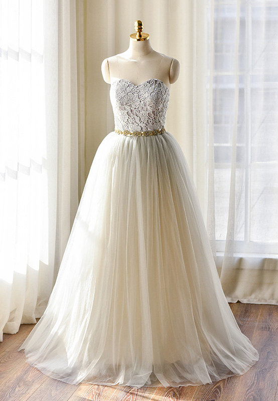Light grey lace wedding dress 475 for Wedding dress on etsy