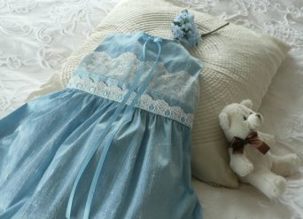 Cornflower blue flower girl dress, made from dupion silk - www.etsy.com/shop/heritagebabywear