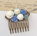 Cornflower blue hair comb - www.etsy.com/shop/jewelsalem