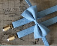 Cornflower blue ringbearer suspenders and bow tie - www.etsy.com/shop/thebaxterboy
