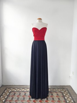 Navy and red bridesmaid dress - from www.etsy.com/shop/mimetik