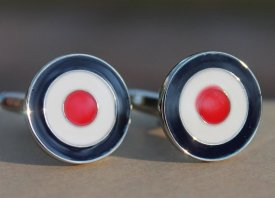 Red and navy 'bullseye' cufflinks - from www.etsy.com/shop/styledgents
