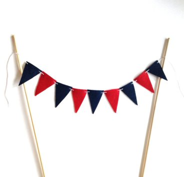 Navy and red cake bunting - from www.etsy.com/shop/sosimplesosweet
