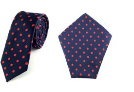 Navy and red polka dot tie and pocket square - from www.etsy.com/shop/aristoties