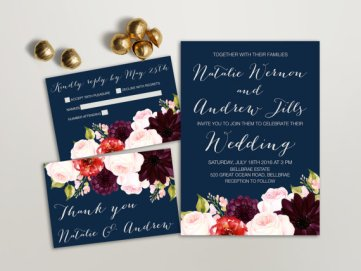 Navy and red floral wedding invitation - from www.etsy.com/shop/lipamea