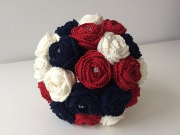 Navy and red fabric bouquet - from www.etsy.com/shop/knottyflorist