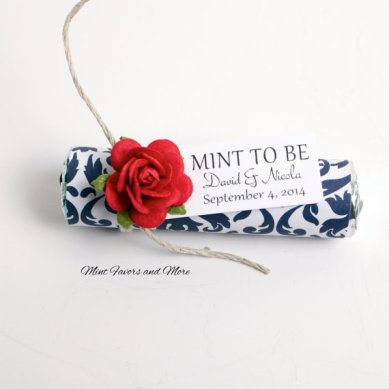 Red and navy 'mint to be' wedding favours - from www.etsy.com/shop/babyessentialsbymel