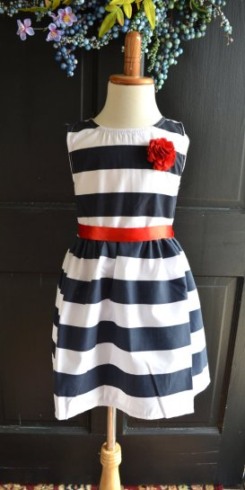 Navy, white and red striped flower girl dress - from www.etsy.com/shop/maidenlaneboutique