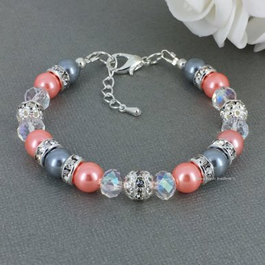coral and grey bracelet - www.etsy.com/shop/daisybeadzjoaillerie