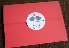 coral and grey customised envelope seals - www.etsy.com/shop/elesinvitations