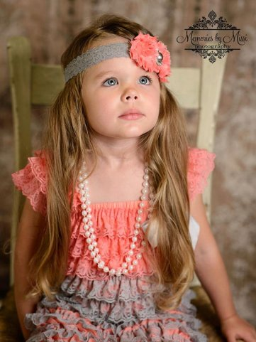 coral and grey flower girl dress and headband - www.etsy.com/shop/happybowtique