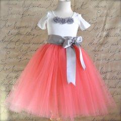 coral and grey flower girl tutu skirt - www.etsy.com/shop/tutuschicoriginals