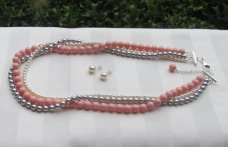 coral and grey multi-strand necklace - www.etsy.com/shop/awrdesigns