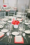 Coral and grey table setting {via weddingwire.com}