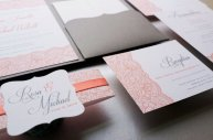 coral and grey wedding nvitations - www.etsy.com/shop/jutingdesignstudio
