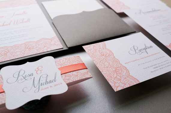 related - Coral And Grey Wedding Invitations