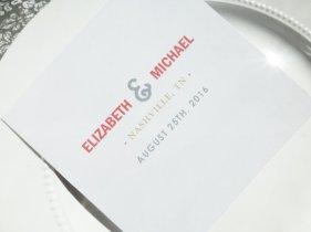 coral and grey wedding programme - www.etsy.com/shop/thatprettyinvitation