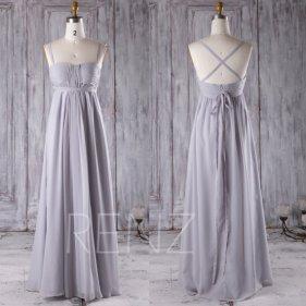 grey chiffon bridesmaid dress - www.etsy.com/shop/renzrags