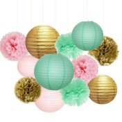 Available from https://www.etsy.com/nz/listing/532388520/12pcs-mixed-gold-pink-mint-tissue-pom?ga_order=most_relevant&ga_search_type=all&ga_view_type=gallery&ga_search_query=gold%2C+mint+and+pink+wedding&ref=sr_gallery-1-31&organic_search_click=1